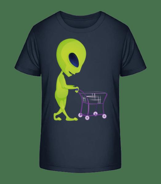Alien With Shopping Cart - Kid's Premium Bio T-Shirt - Navy - Vorn