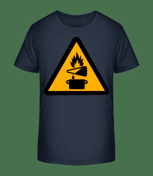 Pozor Nebezpečí požáru - Detské Premium Bio tričko - Namořnická modrá - Napřed