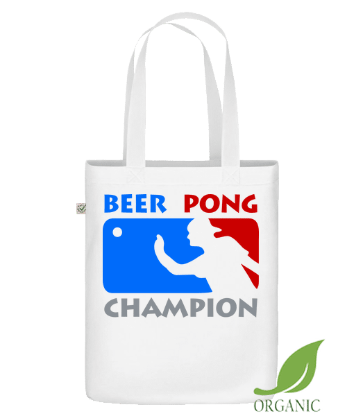 """Beer Pong Champion - Organic """"Earth Positive"""" tote bag - White - Vorn"""