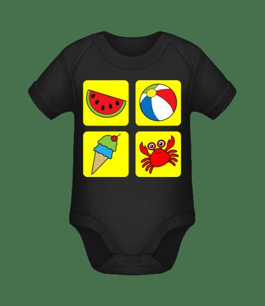 Kid's Summer Colourful - Organic Baby Body - Black - Vorn