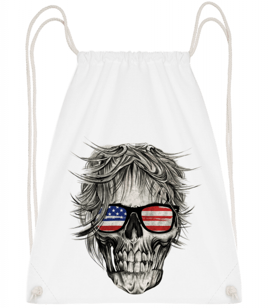 Crâne Amérique - Drawstring Backpack - White - Vorn
