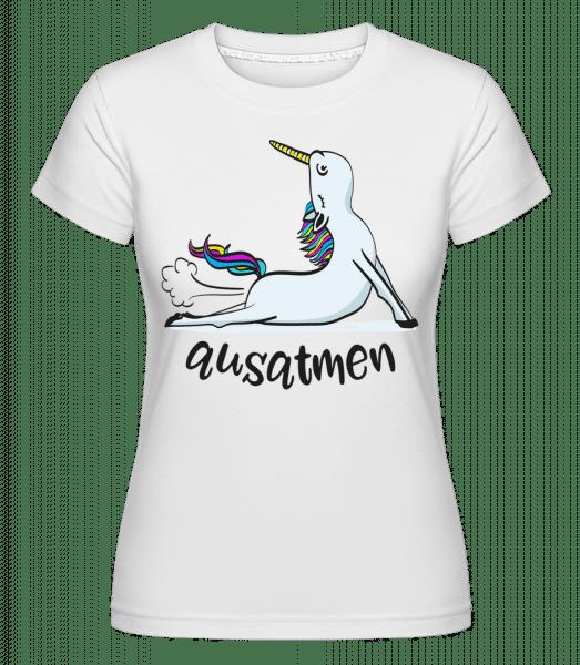 Yoga Einhorn Ausatmen - Shirtinator Frauen T-Shirt - Weiß - Vorn