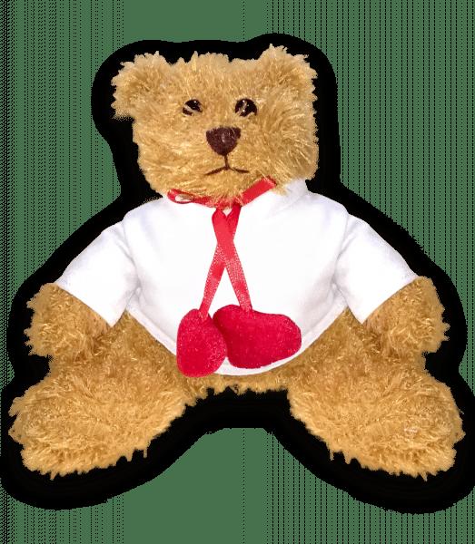 Teddybear with heart pedndant - White -
