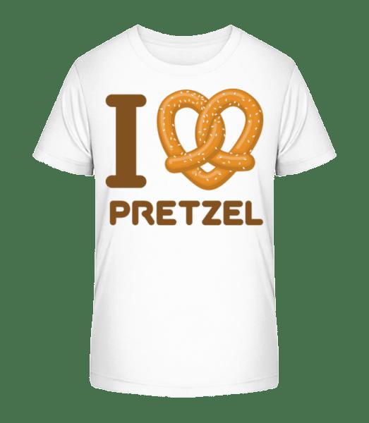 I Love Pretzel - Kid's Premium Bio T-Shirt - White - Vorn