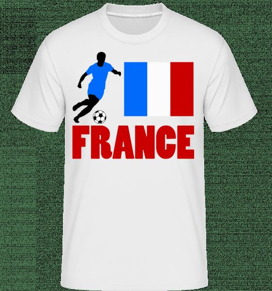 Frankreich Fahne Fußballspieler - Shirtinator Männer T-Shirt - Weiß - Vorn