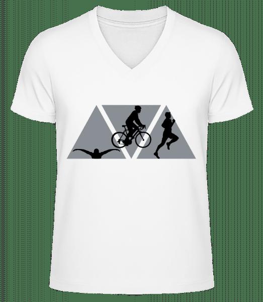 Triathlon - Men's V-Neck Organic T-Shirt - White - Vorn