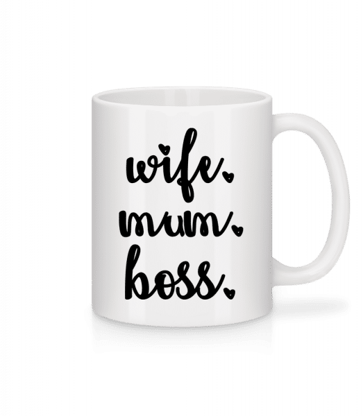 Wife Mum Boss - Tasse - Weiß - Vorn