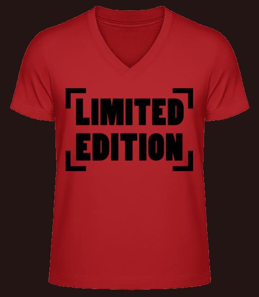 Limited Edition Logo - Men's V-Neck Organic T-Shirt - Red - Vorn