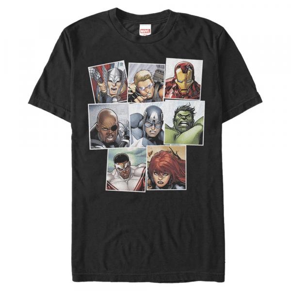 Squares Group Shot - Marvel Avengers - Men's T-Shirt - Black - Front
