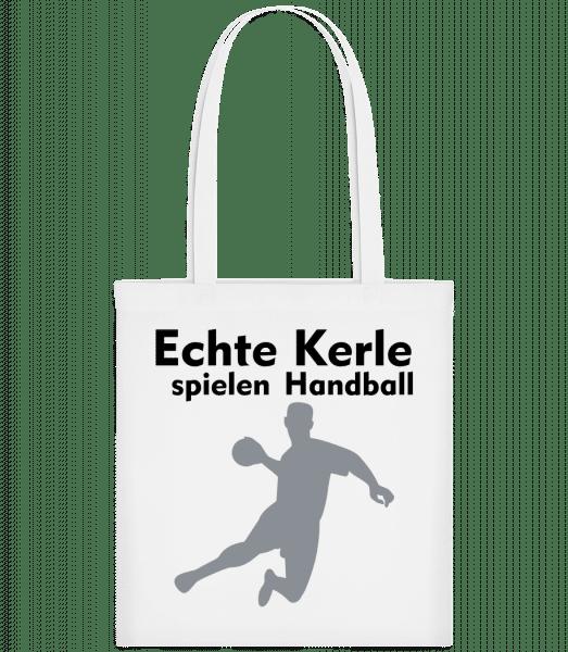 Echt Kerle Spielen Handball - Stoffbeutel - Weiß - Vorn