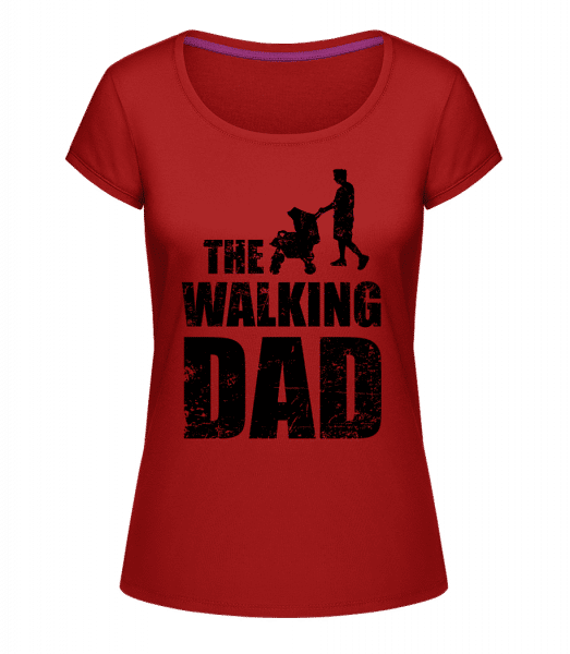 The Walking Dad - Frauen T-Shirt U-Ausschnitt - Kirschrot - Vorn
