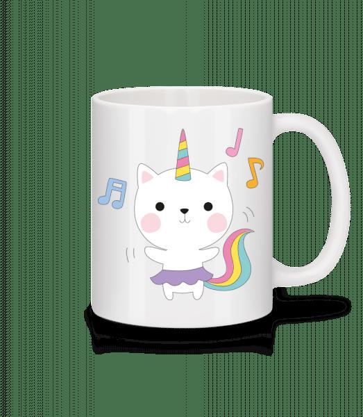 Tanzende Einhorn Katze - Tasse - Weiß - Vorn