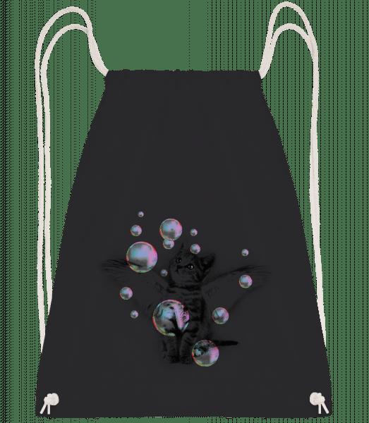 Soapbubble Cat - Drawstring Backpack - Black - Vorn