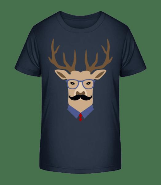 Hipster Deer - Kid's Premium Bio T-Shirt - Navy - Front