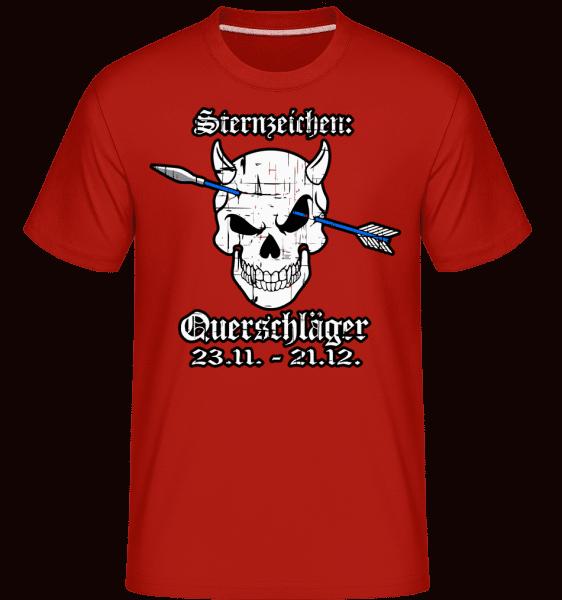Metal Sternzeichen Querschläger - Shirtinator Männer T-Shirt - Rot - Vorn