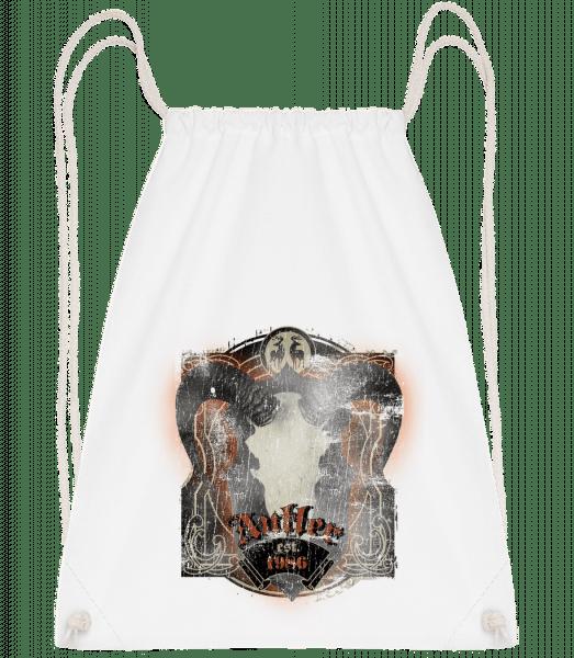Buffalo Skull Vintage - Drawstring Backpack - White - Vorn