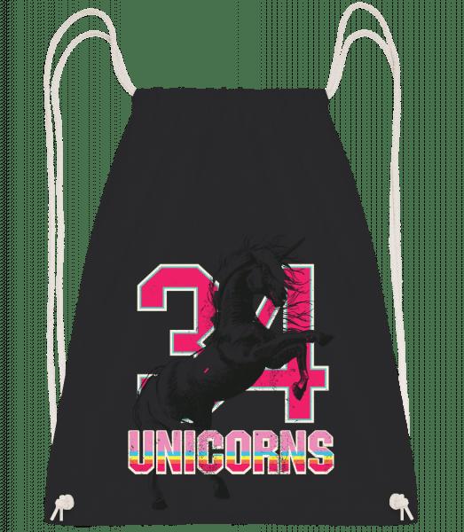 34 Unicorns - Drawstring batoh se šňůrkami - Černá - Napřed