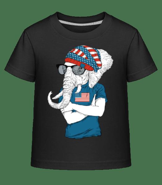 Hipster Elephant - Kid's Shirtinator T-Shirt - Black - Vorn