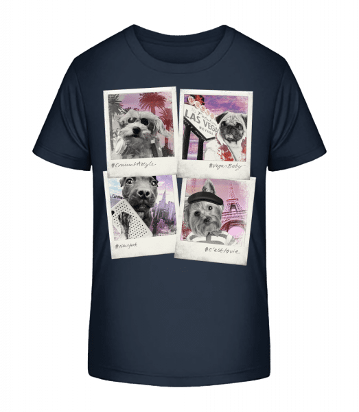Dog Polaroids - Kid's Premium Bio T-Shirt - Navy - Vorn