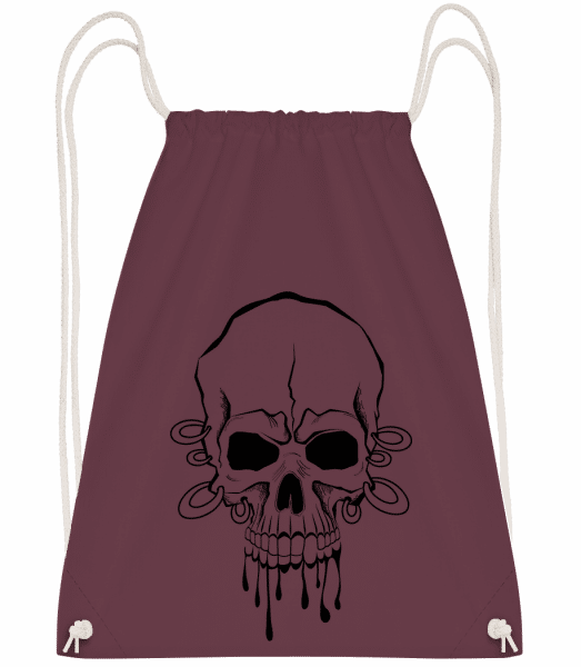 Skull With Wrist Tattoo - Drawstring Backpack - Bordeaux - Vorn