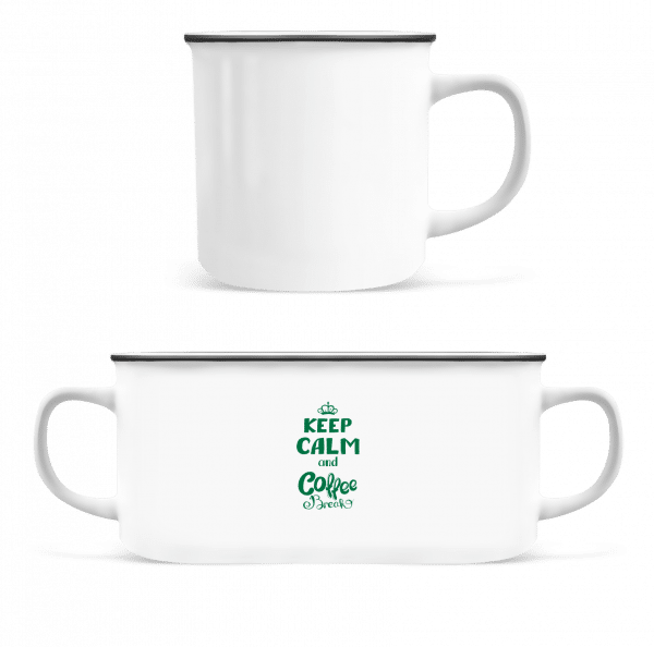 Keep Calm And Coffee Break - Enamel-cup - White - Vorn