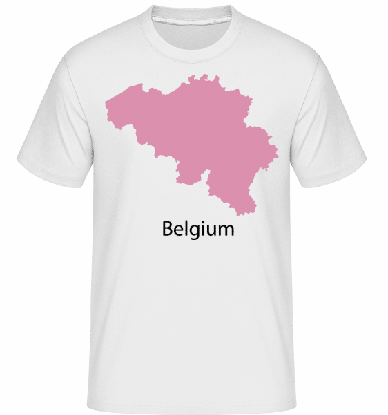 Belgium Silhouette Pink -  Shirtinator Men's T-Shirt - White - Vorn