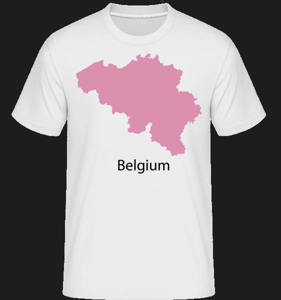 Belgicko Silhouette Pink -  Shirtinator tričko pre pánov - Biela - Predné
