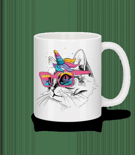 Einhorn Party Katze - Tasse - Weiß - Vorn