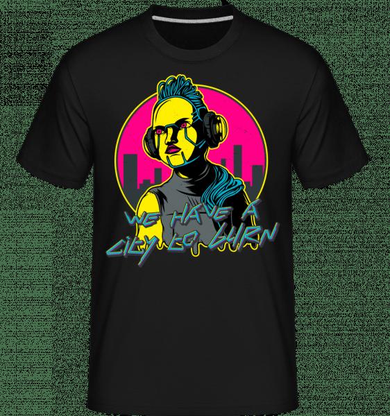 A City To Burn Cyberpunk -  Shirtinator Men's T-Shirt - Black - Vorn
