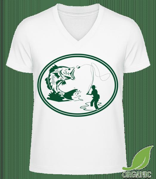"Fishing Icon Green - ""James"" Organic V-Neck T-Shirt - White - Vorn"