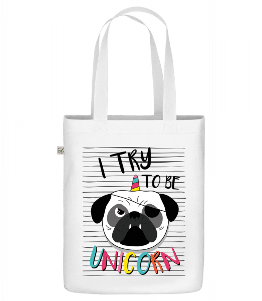 "Unicorn Dog - Organic ""Earth Positive"" tote bag - White - Front"