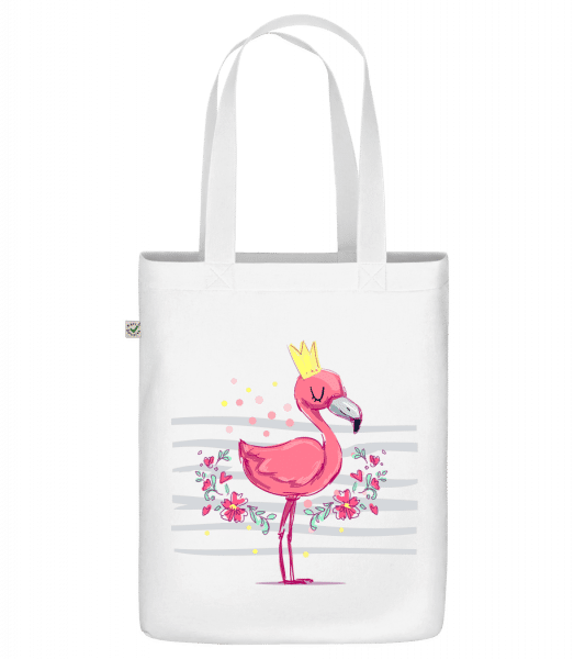 "Royal Flamingo - Organic ""Earth Positive"" tote bag - White - Front"