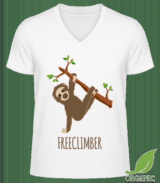 """Freeclimber Sloth - """"James"""" Organic V-Neck T-Shirt - White - Vorn"""