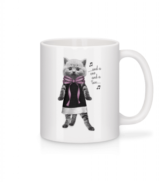 Dancing Cat - Mug - White - Vorn