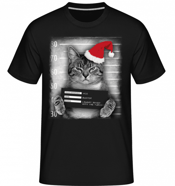 Cat XMas Guilty -  T-Shirt Shirtinator homme - Noir - Vorn