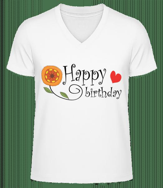 Happy Birthday Flower - Pánské bio tričko s V-výstřihem - Bílá - Napřed