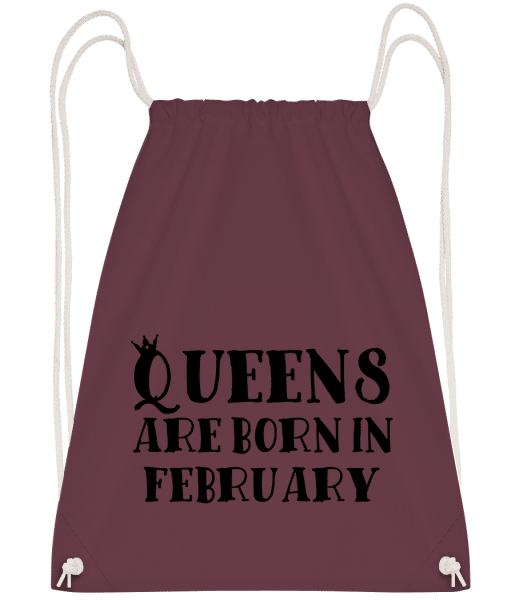 Queens Are Born In February - Drawstring Backpack - Bordeaux - Vorn