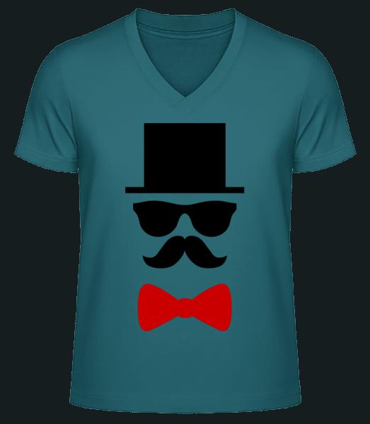 Groom - Men's V-Neck Organic T-Shirt - Petrol - Vorn
