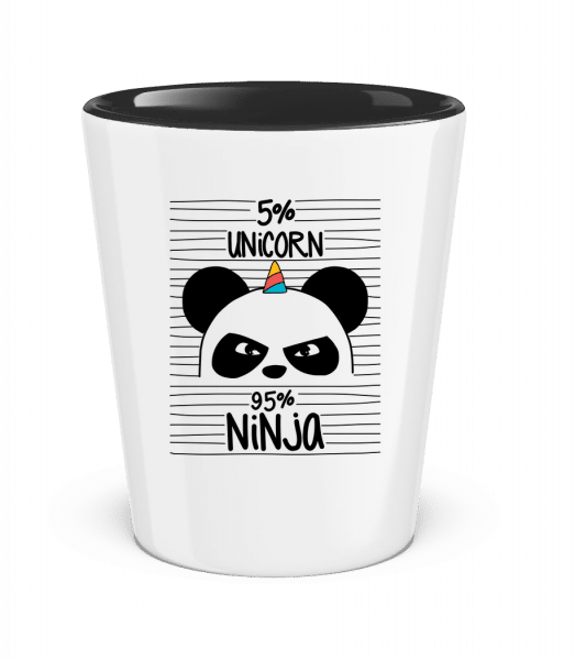 5% Unicorn 95% Ninja - Two-Toned Shot Glass - White - Front