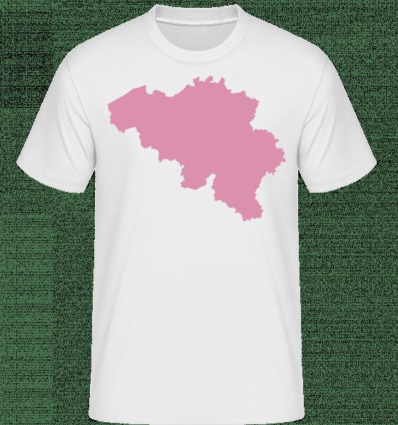 Belgium Silhouette Pink -  Shirtinator Men's T-Shirt - White - Vorn