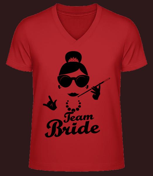 Team Bride - Men's V-Neck Organic T-Shirt - Red - Vorn