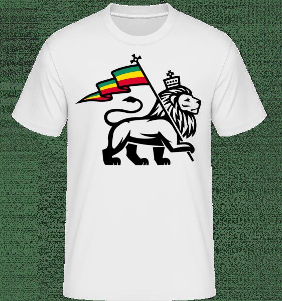 Lion Jamaican Flag -  Shirtinator Men's T-Shirt - White - Vorn