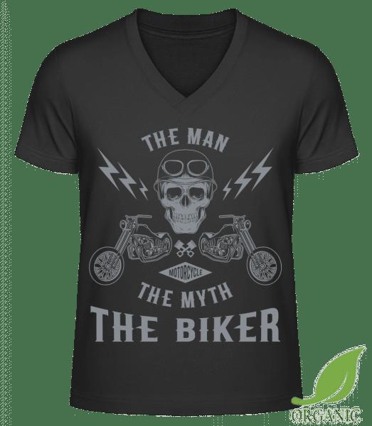 "The Man The Myth The Biker - ""James"" Organic V-Neck T-Shirt - Black - Vorn"