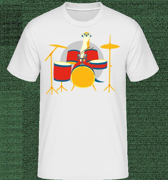 Meerkat Playing Drums -  Shirtinator tričko pro pány - Bílá - Napřed