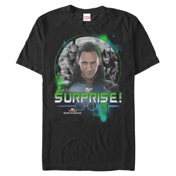 Loki Returns Group Shot - Marvel Thor Ragnarok - Men's T-Shirt - Black - Front