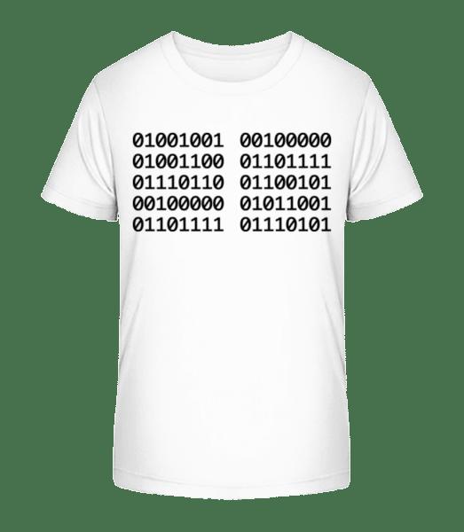 I Love You Code - Kinder Premium Bio T-Shirt - Weiß - Vorn