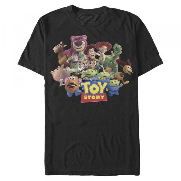 Running Team Group Shot - Pixar Toy Story 1-3 - Men's T-Shirt - Black - Front