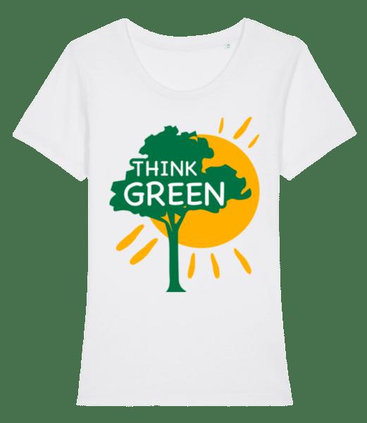 Mysli zeleně - Dámské premium bio tričko Stanley Stella - Bílá - Napřed