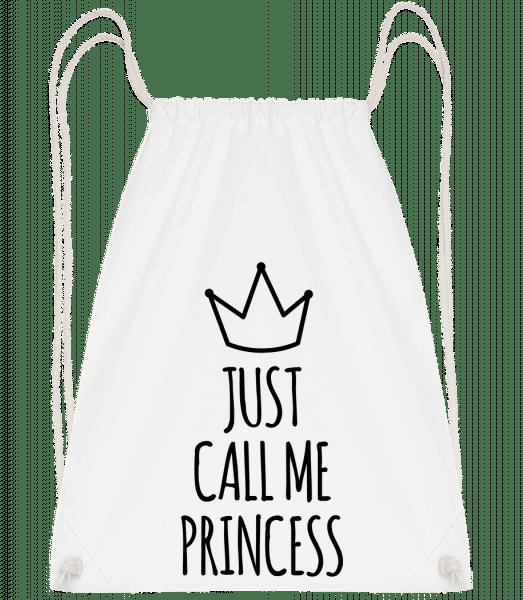 Just Call Me Princess - Drawstring Backpack - White - Vorn