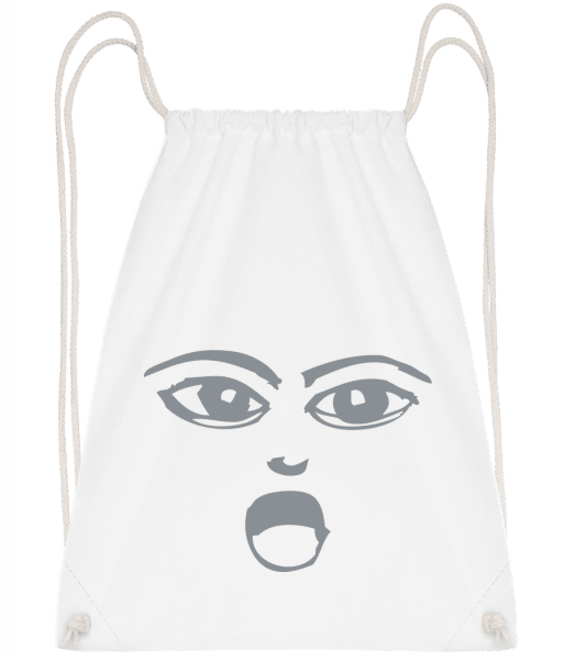 Wondering Face Symbol Grey - Drawstring Backpack - White - Vorn